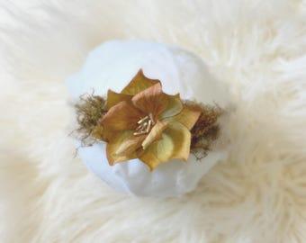 Skinny Stretch Flower Headband, baby girl, sand, photography prop, headband, flower crown, newborn, ready to ship, accessories