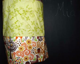 Sample SALE - Will fit Size S/M - Ready to MAIL - Patchwork Pencil SKIRT - Deer - by Boutique Mia