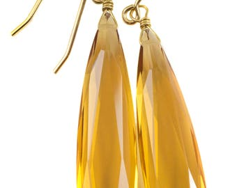 Yellow Champagne Simulated Topaz Earrings Faceted Large Long Dangle 14k Gold or Filled or Sterling Silver Classic Simple Clean 2 Inch Drops
