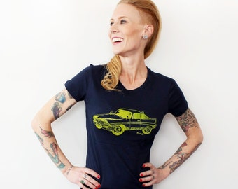 Classic Car Tshirt, Fitted Ladies Graphic Tee, Screenprinted Shirt, Supersoft Cotton Crewneck, Navy Blue Hand Printed Driving Old Vehicle