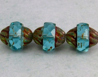 Czech Glass Beads Turbine, Aqua Picasso, 11x10 MM 6-Pieces C231