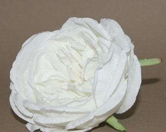 Boutique White Cabbage Rose - Artificial Flower - Silk Flower