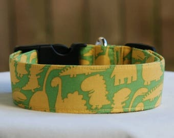 Dinosaur-Dino-Green Yellow T-Rex-Adjustable Buckle-Martingale Dog Collar-Large Breed Dog- 1.5 -2 inch width