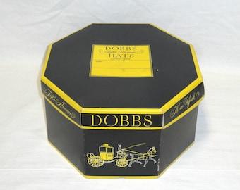 "Vintage Dobbs New York Black Yellow Octagonal Hat Box - 13 3/4"" L x 11 3/4"" W"