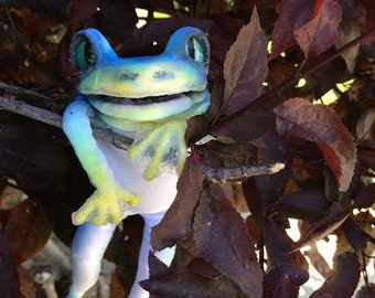 Cerulean the posable Frog Art Doll
