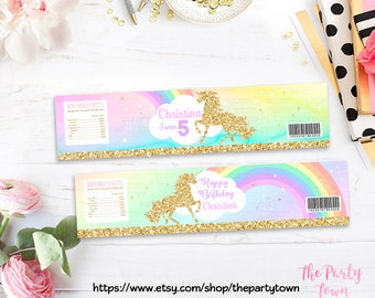Unicorn Water Bottle Labels, 1st Unicorn Birthday Invitation, Rainbow Magical Unicorn Invite, Gold Unicorn, first Pastel party decorations