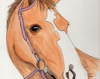 Original Quarter Horse Watercolor Painting Portrait: Gift for a Horse Lover
