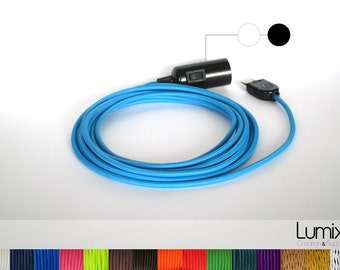 Pendant light, inspection lamp, socket lamp - Textile cable with bakelite sleeve and integrated switch - socket E27 without bulb - ref LB2