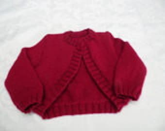 Short front rounded with long sleeves Bolero size 4t