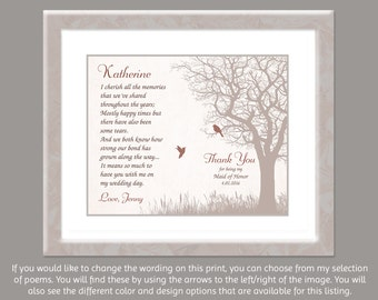 Maid of Honor Sister - Matron of Honor Gift - Personalized Weddding Gift - Sister Bridesmaid Gift - Wedding Poem - Tree Art