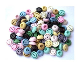 SALE-110 Vintage plastic buttons, 11 colors, 18mm, 8mm height