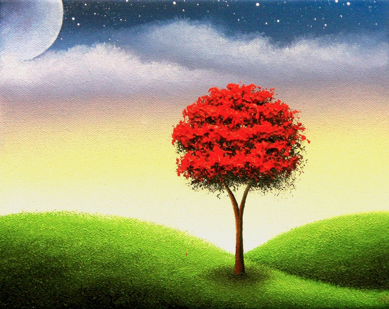 Art Print of Landscape Painting Red Tree Art Colorful Wall