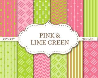 "PINK & LIME GREEN Digital Paper Pack Stripe Paper Arrow Pattern Paper Scrapbook Paper Pink Green paper Instant Download 12""x12""#P150"