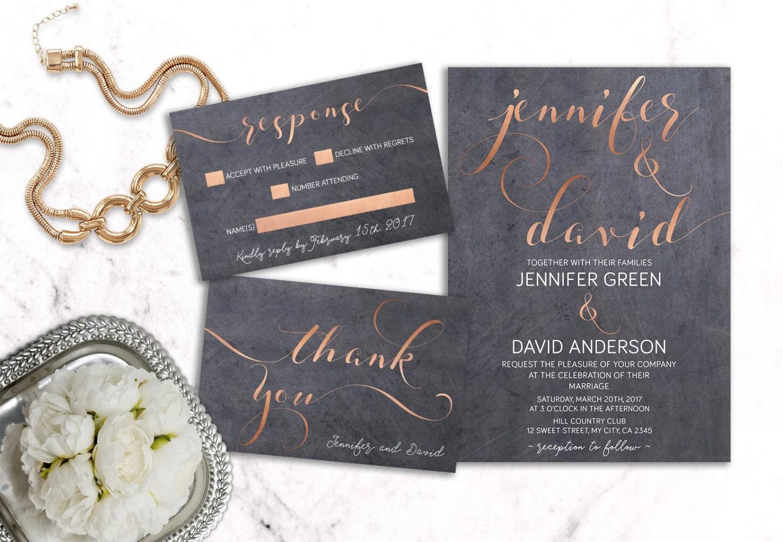 Copper Wedding Invitation Printable Modern Wedding Invitation