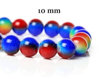 50 Harlequin 10 mm glass beads