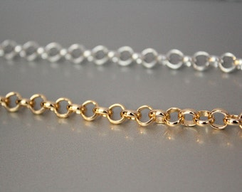6 Feet Rolo Gold Chain, Siver Chain, Aluminum Chain, Open Link Chain, per Link Size 5mm Jewelry Findings, Jewelry Supplies(16309)