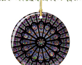 Rose Window Christmas Ornament from Notre Dame in Paris, France in Porcelain