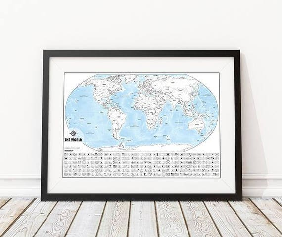 Color me world map outline poster color in your travels gumiabroncs Choice Image