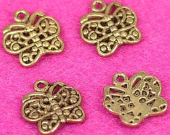 Antique gold metal butterfly charms 10pcs (3020)