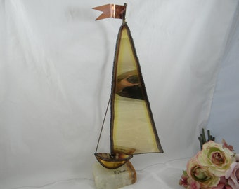 Large De Mott Signed Brass and Copper Sailboat Ship Boat Yacht
