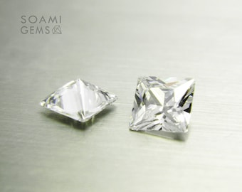 Loose Cubic zirconia square shape white, 5x5, 6x6, 7x7, 8x8, 9x9, 10x10 mm square cut white loose cubic zirconia faceted gem