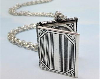 Silver Book Locket Necklace Pendant Rhodium Chain Victorian Locket Gift Jewelry