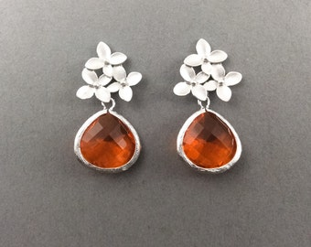 Silver Earrings With Three Flower Motif And Fireopal Glass Pendant