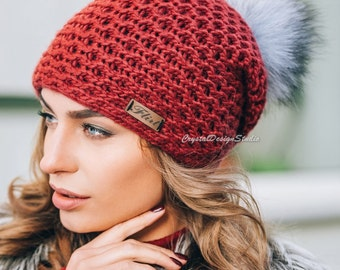 Red Winter hat Wool hat for women Knitted hat pompon Gray Wool winter hat Red Chunky Knit Hat Wool hat Autumn clothes Beanie Fall Apparel