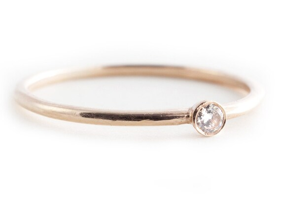 Diamond Ring Petite Ring 14K Gold Diamond Ring Small