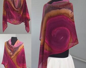 Poncho de Firebird en mousseline de soie en soie peinte à la main, le mode Boho, voyage porter, capuche, Made in USA, à la main, la mode lente, unique en son genre