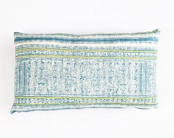 READY TO SHIP Hmong Tribal Batik Print Textile Pillow Cover 12x20
