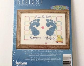 Baby Feet Counted Cross Stitch Kit Janlynn Birth Record Footprint Gift 5x7