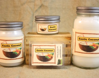 Exotic Coconut Scented Candle, Exotic Coconut Scented Wax Tarts, 26 oz, 12 oz, 4 oz Jar Candles or 3.5 Clam Shell Wax Melts