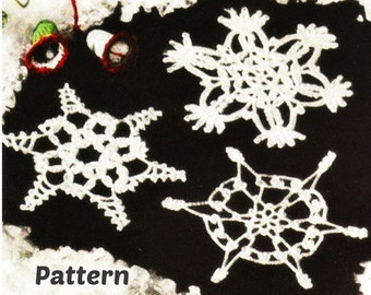 Crochet SNOWFLAKE Ornament Patterns Vintage 40s Crochet Christmas Ornament Pattern Christmas Tree Decor-3 PATTERNS