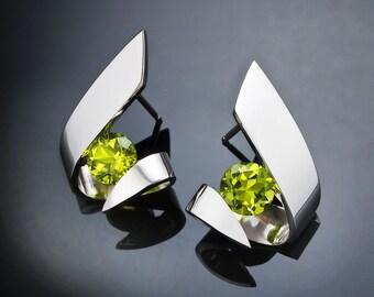 peridot earrings, August birthstone, Argentium silver earrings, gemstone jewelry, green earrings, Christmas gift, artisan earrings - 2440