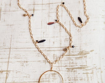 Black Gold Necklace, Black, Gold Necklace, Sea Glass Necklace, Black Sea Glass Necklace, Circle Necklace, Boho Necklace, Boho, Bohemian