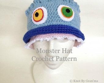 Crochet Pattern, Hat Pattern, Monster Hat Pattern, Kids Crochet Pattern