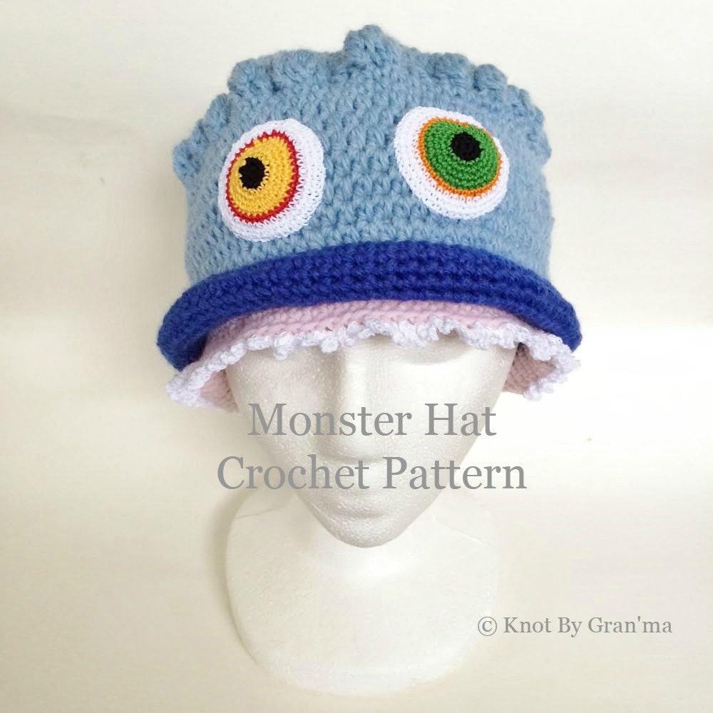 Crochet Pattern Hat Pattern Monster Hat Pattern Kids