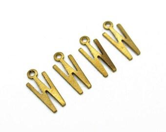 Letter W Initial charm pendant, Brass Alphabet, 4pcs