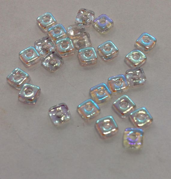 Czech Quad Beads Crystal AB 5g (approx 110 beads)