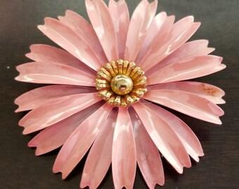 Vintage Large Soft Pink Multi Petal Enamel Flower Brooch Pin with gold center