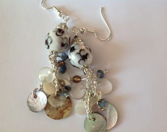 Pretty Bohemian earrings white pearls with grey flowers, chains and hooks in silver, mother of Pearl charms