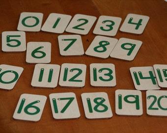 Mini Sandpaper Numbers 0-20 on brich wood