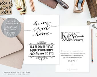 We've Moved Announcement Cards, Moving Announcements, New Address, New House, Home Sweet Home, Key, DIY Printable Editable PDF Template