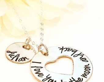 Hand Stamped I Love You To The Moon and Back personalized name necklace.-I Love You Necklace-Mothers Necklace-Sister Necklace-Best Friend