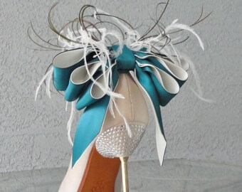 Bridal Party Wedding Teal And Ivory Bow And Feather Shoe Clips Set Of Two