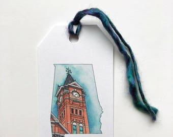 Auburn Samford Hall gift tags,set of 10 gift tags, Alabama watercolor gift labels, Auburn University, SEC, College, Graduation, gift label