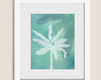 Palm Tree Art for Beach House Decor, 11 x 14 Tropical Wall Art , Sea Blue Living Room Art Print (147)
