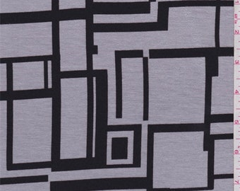 Sterling/Black Modern Print Rayon Jersey Knit, Fabric By The Yard