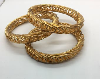 "Raw Brass Solid Interlocking Wire Bangle—Not Plated—Soldered—1/2""Wide—1pc"